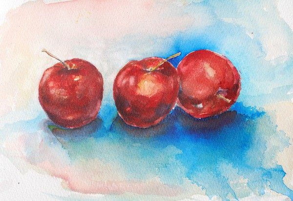 Three red apples watercolor painting
