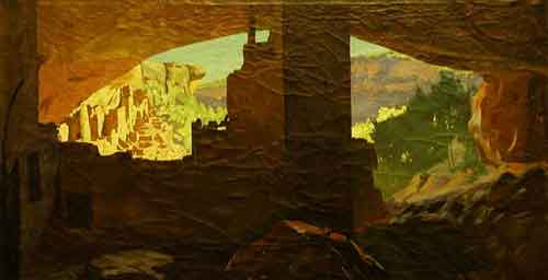 Painting from the inside of Cliff Palace, Mesa Verde, by Frederick DuMond.