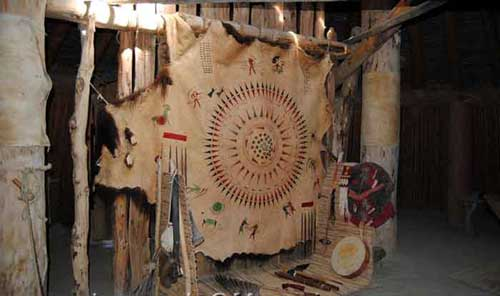 Symbols on hide at Mandan Village in North Dakota