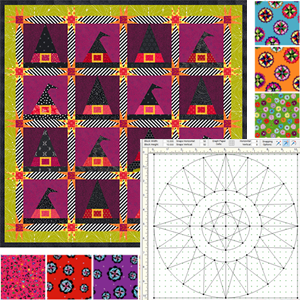 EQ Freebies  Don't miss this month's free downloads, fabric giveaway, and lesson for EQ8!  Project of the Month:Wily Witch  Fabric of the Month:Color Splash by Jackie Kunkel(andfabric giveaway!)  Design & Discover lesson:EasyDraw!