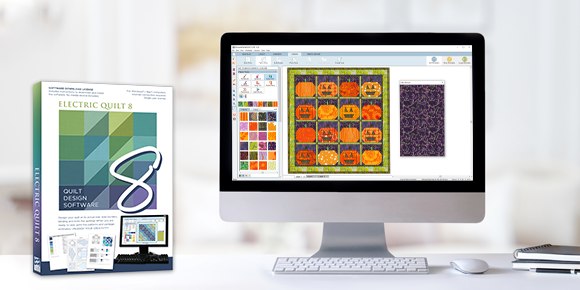 Special Offer: 20% off EQ8!  October is EQ8's birthday month! Why not celebrate with a sale?! Save on EQ8, Upgrades, and the Migration Kit and start designing your own quilts!  (That cute project shown on screen is a free download called Pumpkin Patch!)