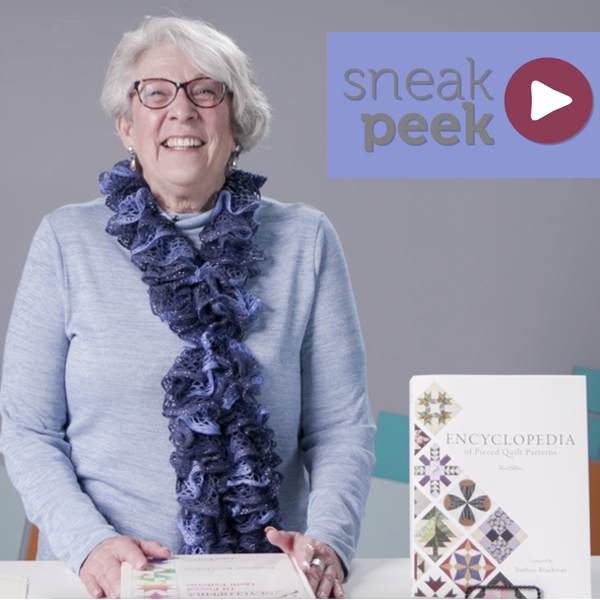 """Lori Baker and her """"Brackman""""  Golden Peak's Acquisition Editor, Lori Baker hosts a sneak peek video featuring the new Encyclopedia of Pieced Quilt Patterns (or as she calls it, the """"Brackman""""). Get an inside look and hear about BlockBase+ in this fun video! Watch video >"""