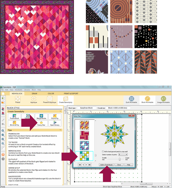 EQ Freebies  Don't miss January's free downloads, fabric giveaway, and lesson for EQ8!Project of the Month:Lively LoveFabric of the Month:Coco Chicfrom Benartex(andfabric giveaway!)Design & Discover Lesson:The Serendipity Tool