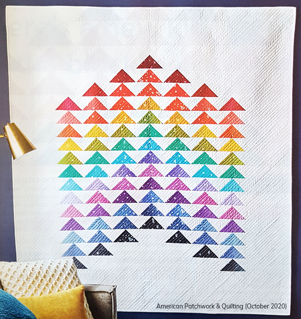Patty Dudek  Patty (@elmstreetquilts on Instagram) is an EQ user, and you can see her striking quilt, Flying Colors, in the pages of the October 2020 issue of APQ magazine! Don't you love all the colorful geese, especially with the white background?! Find the Patty's pattern in the magazine!
